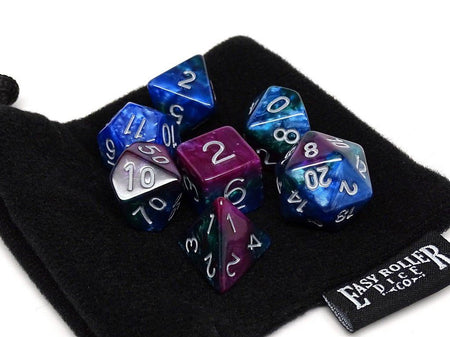 Peacock Swirl Dice Collection - 7 Piece Set