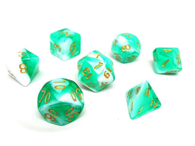 Mint Swirl Dice Collection - 7 Piece Set