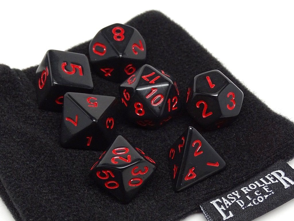 Black Opaque with Red Numbering Dice Collection - 7 Piece Set