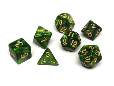 Green Granite Dice Collection - 7 Piece Set
