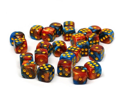 12mm D6 Dice - Cobalt and Copper Swirl - 25 Count Bag