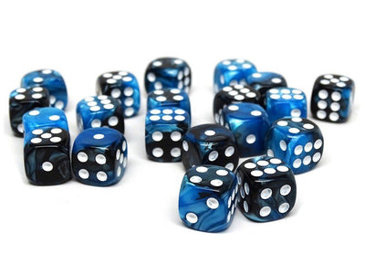 12mm D6 Dice - Black Ice - 25 Count Bag