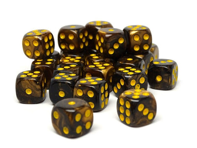 12mm D6 Dice - Yellow and Black Granite - 25 Count Bag