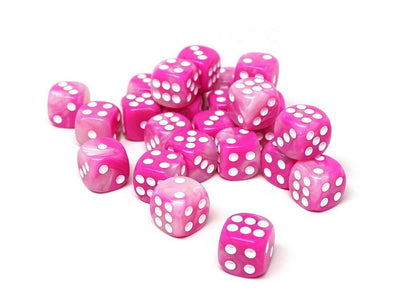 12mm D6 Dice - Pink Opal - 25 Count Bag