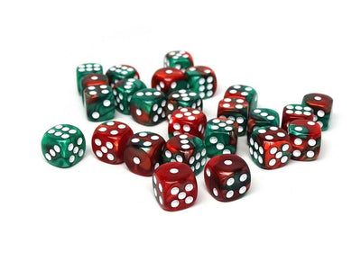 12mm D6 Dice - Green and Red Swirl - 25 Count Bag