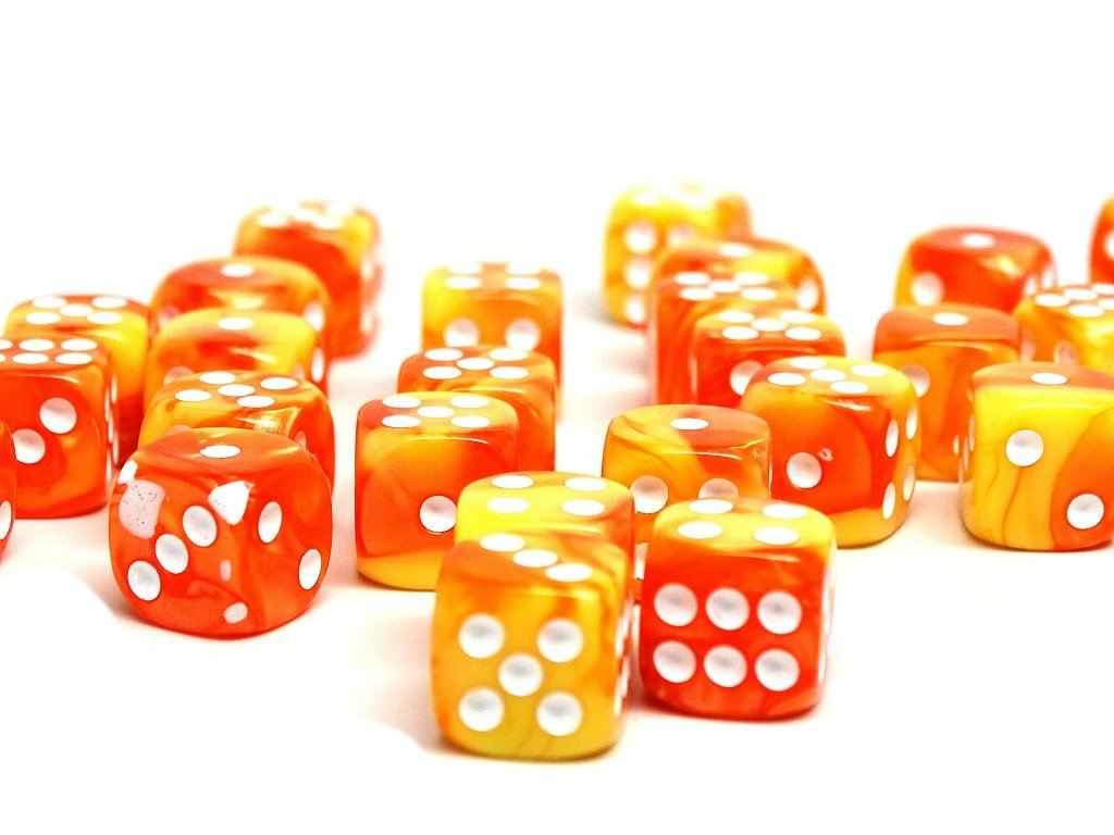 12mm D6 Dice - Blazing Sun - 25 Count Bag