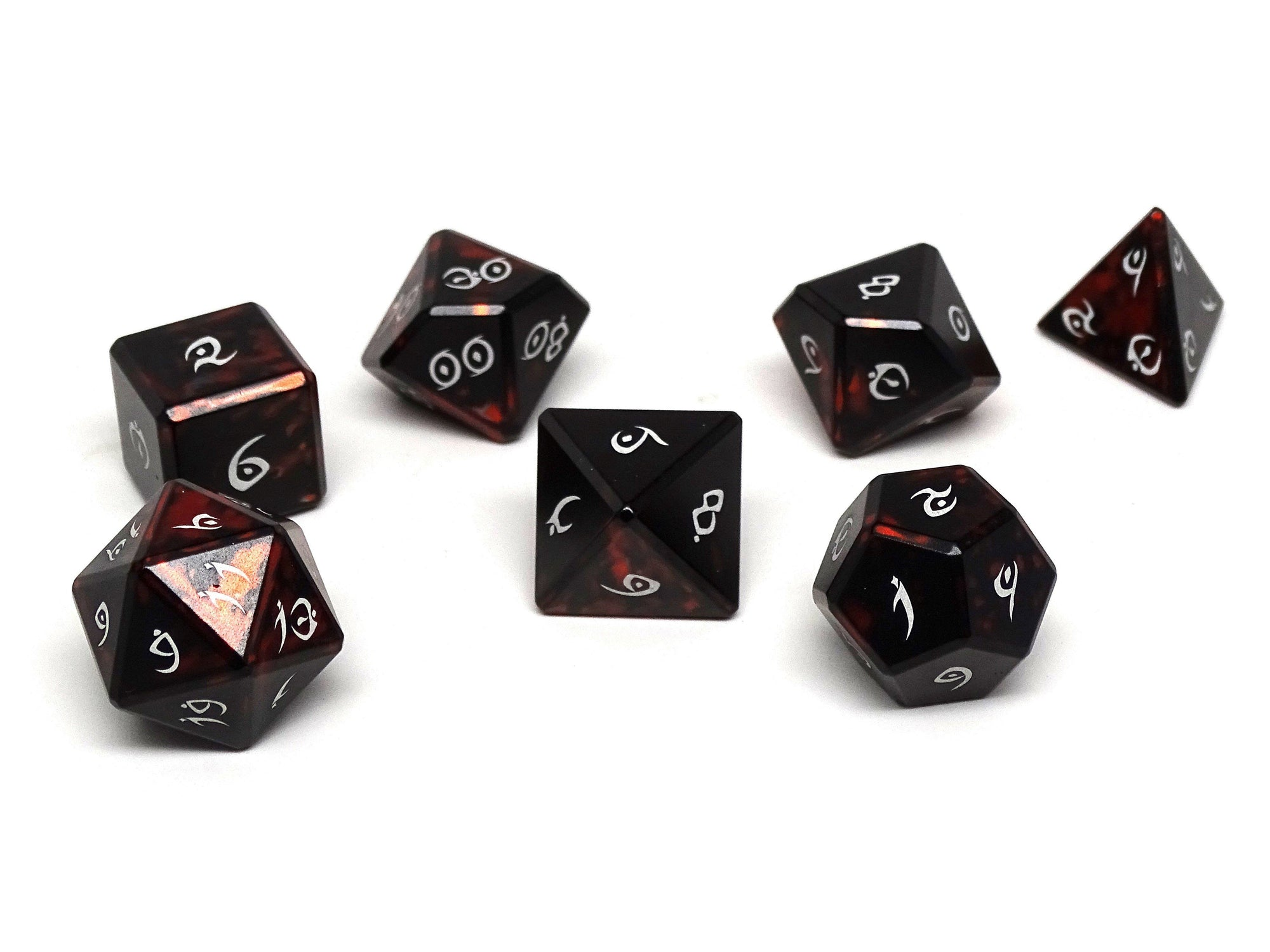 Aluminum Elite Dice of the Elvenkind - Orange 7 Dice Set