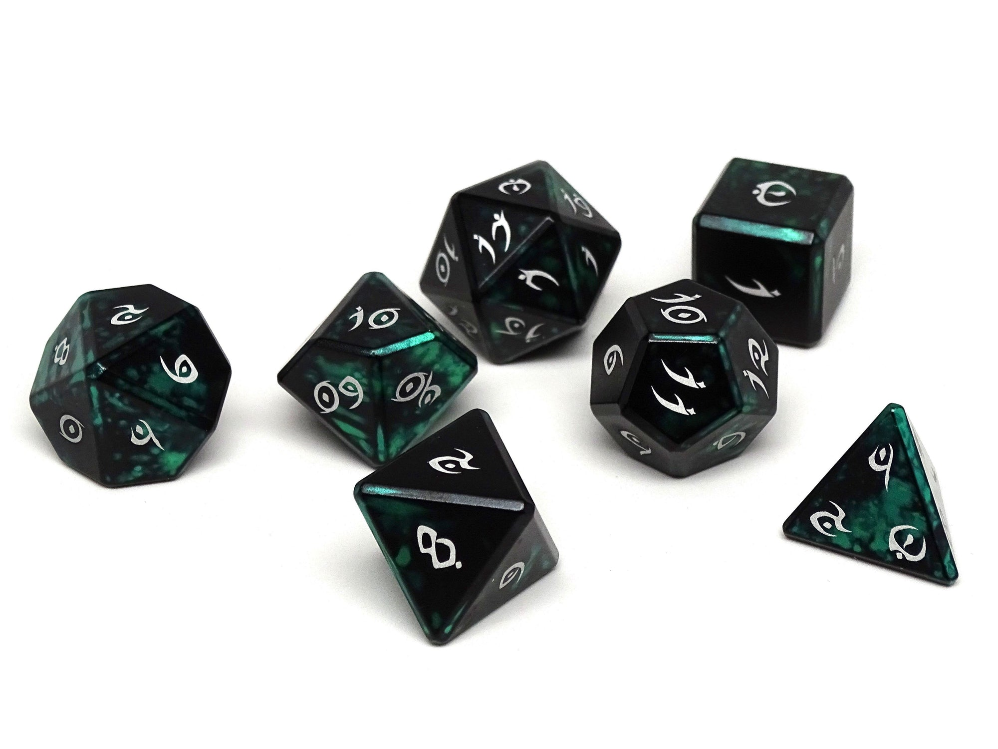 green and black aluminum dice set
