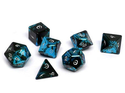 black and blue aluminum dice