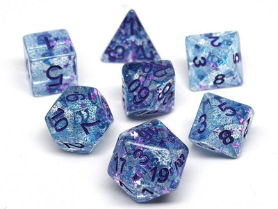 Winter Starburst with Purple Numbering Dice Collection - 7 Piece Set