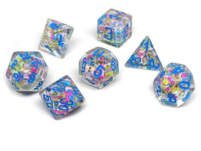 Sprinkle Dice Set With Blue Numbering - 7 Piece Set