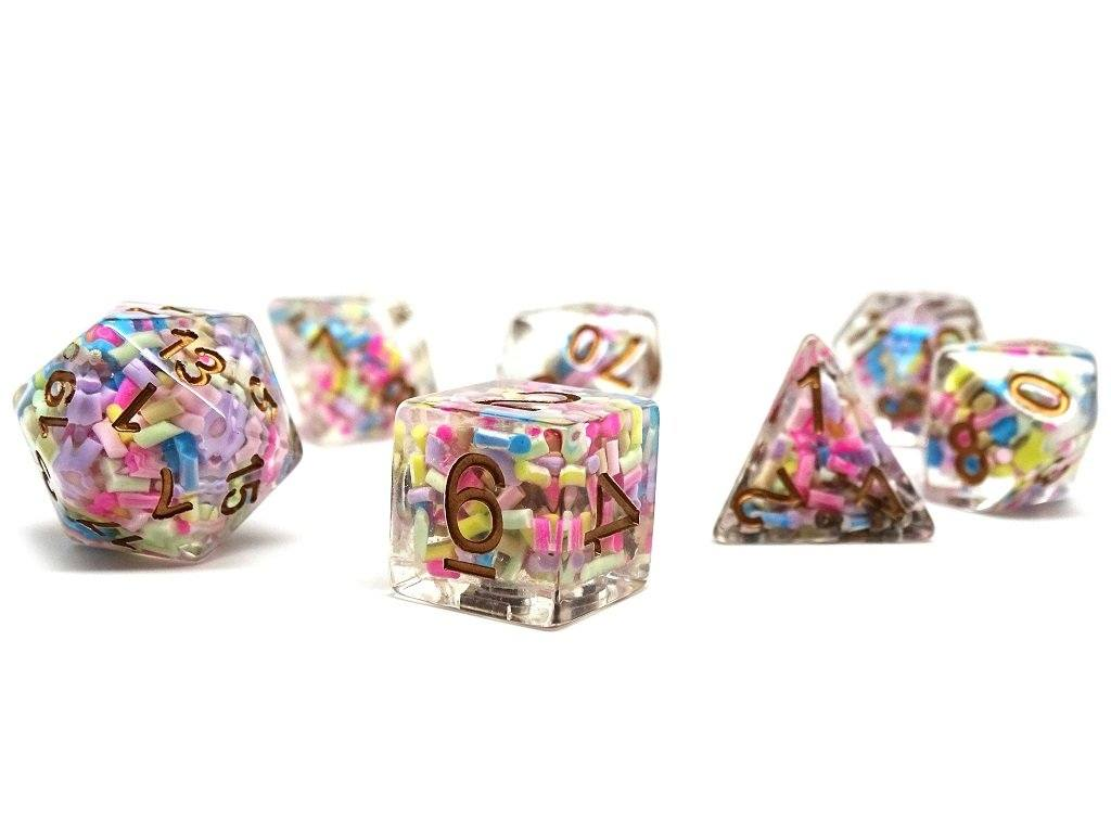 Sprinkle Dice Set With Gold Numbering - 7 Piece Set