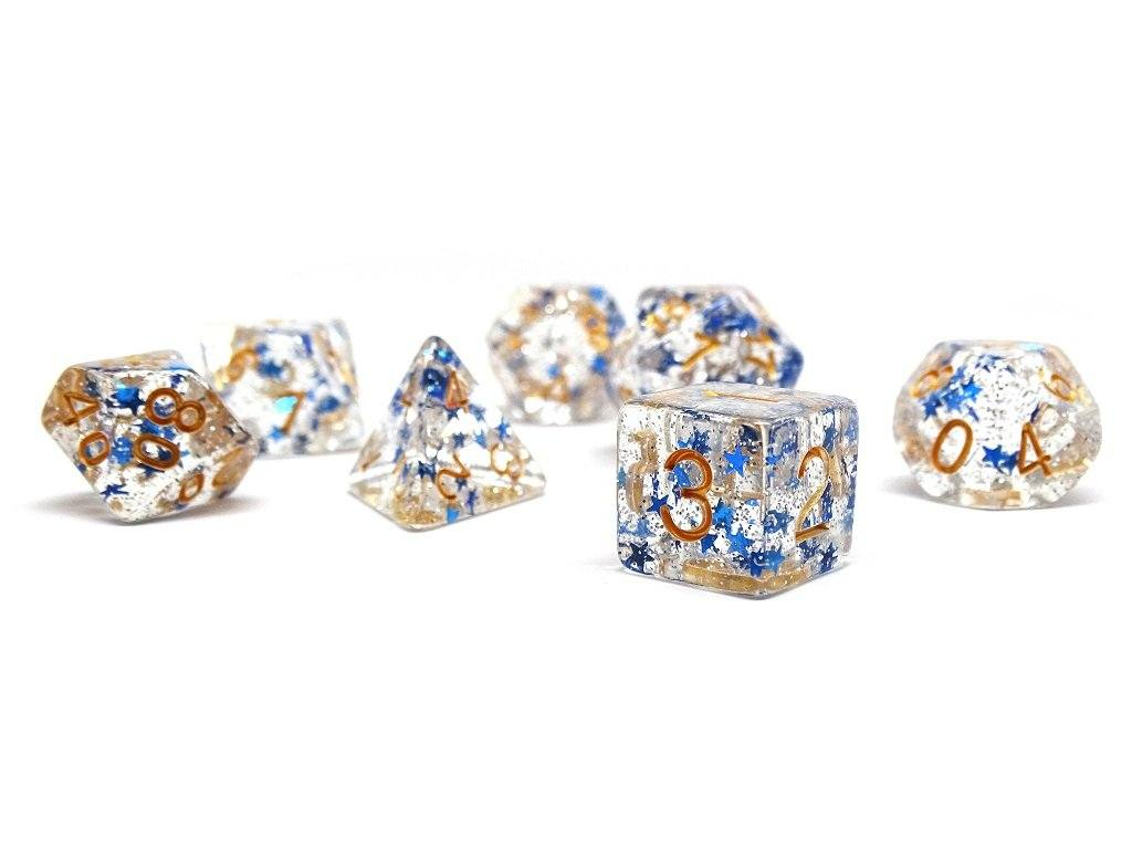 Translucent Starburst with Gold Numbering Dice Collection - 7 Piece Set