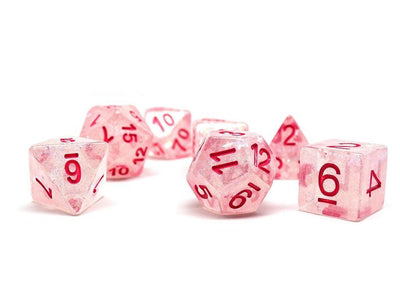Frozen Starburst with Pink Numbering Dice Collection - 7 Piece Set