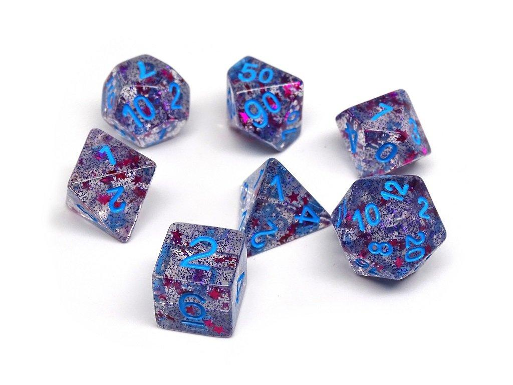 Translucent Starburst with Powder Blue Numbering Dice Collection - 7 Piece Set