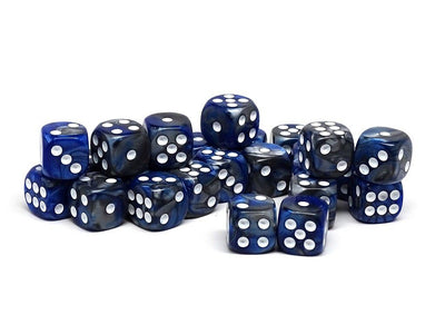 12mm D6 Dice - Blue and Silver Granite - 25 Count Bag