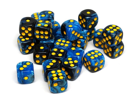 12mm D6 Dice - Blue and Black Swirl - 25 Count Bag