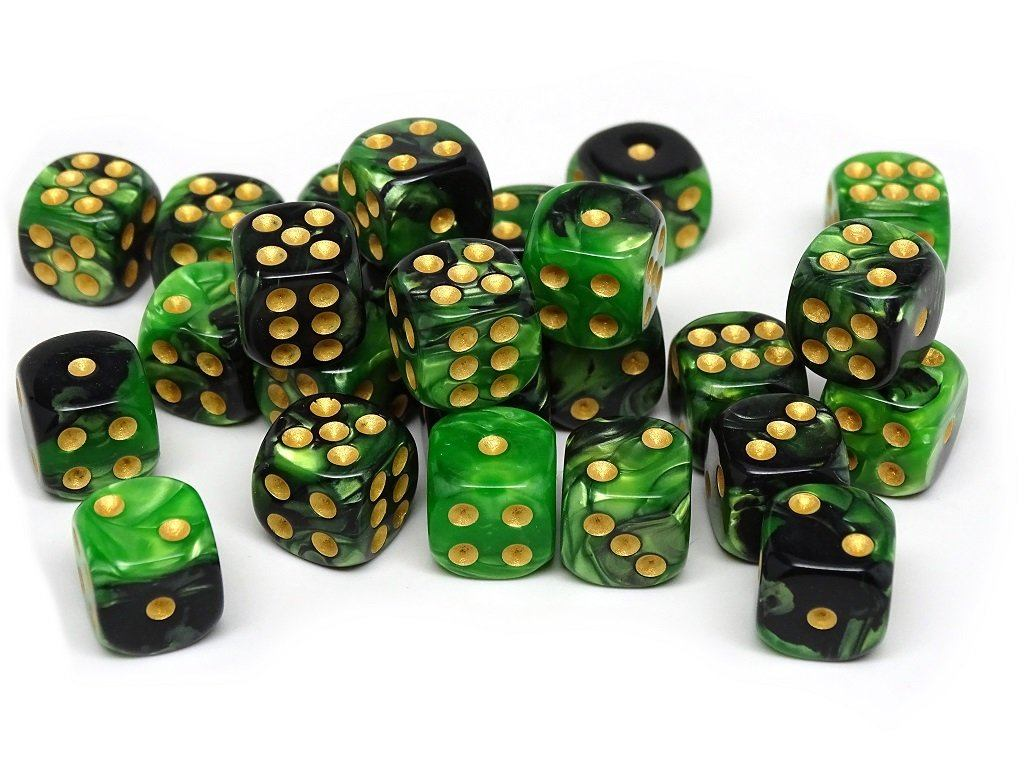 12mm D6 Dice - Green and Black Swirl - 25 Count Bag