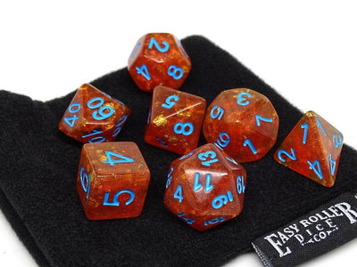 Orange Ocean Reef with Blue Font Dice Collection - 7 Piece Set