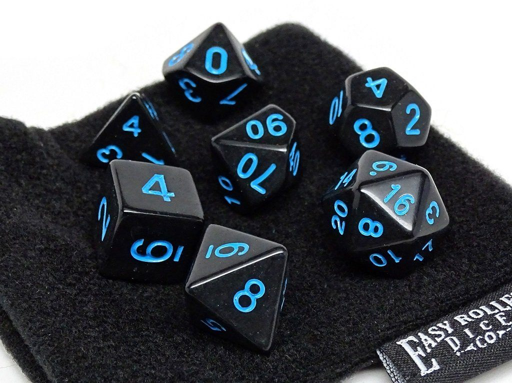 Black Opaque with Blue Numbering Dice Collection - 7 Piece Set
