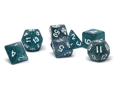Teal Stardust Dice Collection - 7 Piece Set