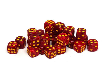12mm D6 Dice - Fire Swirl - 25 Count Bag