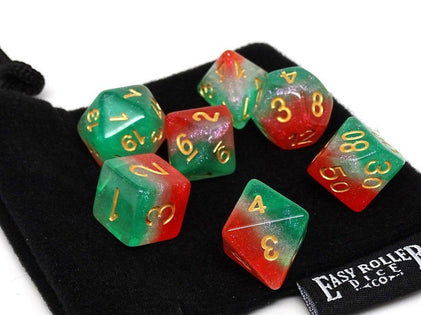 Frozen 3 Tone - Green, White, Red with Gold Font - 7 Piece Set