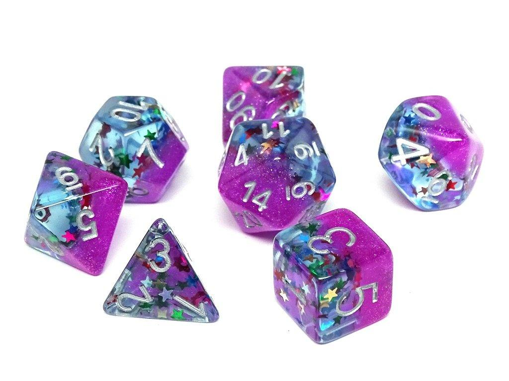 Frozen Purple with Stars - Silver Font - 7 Piece Set