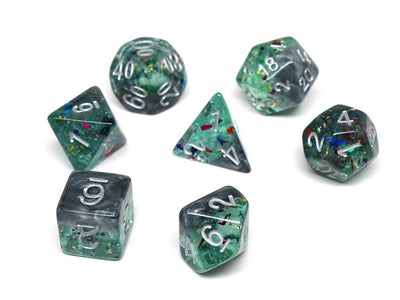 Marble with Green Glitter - Silver Font - 7 Piece Set