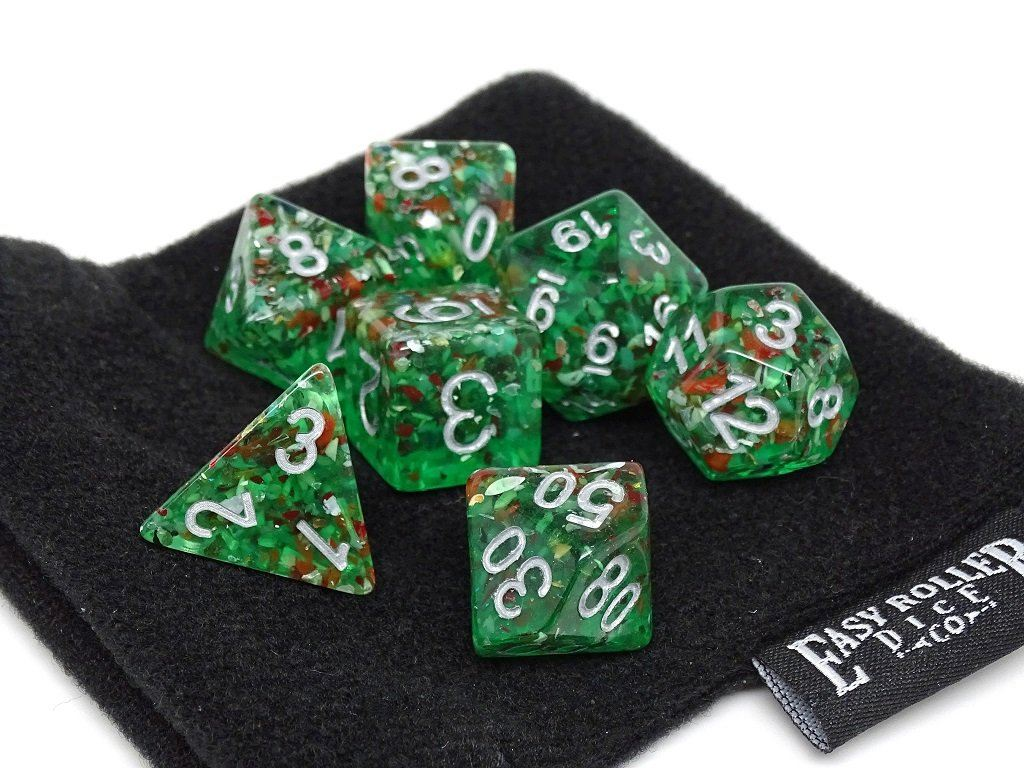 Green Translucent Speckle Dice Collection - 7 Piece Set