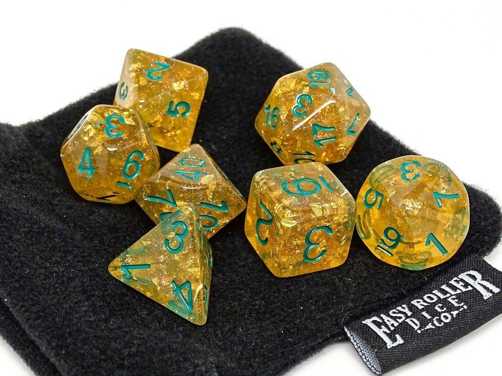 Golden Ocean Reef Dice Set - 7 Piece Collection