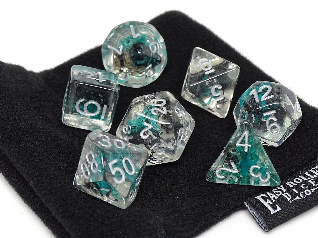 Translucent Neuron Green and Black Dice Collection - 7 Piece Set