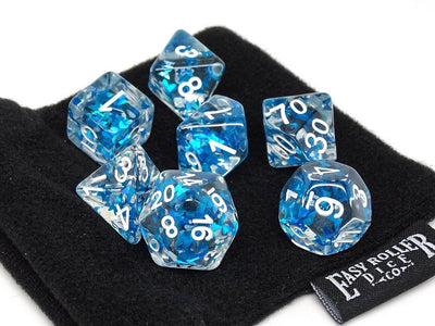 Transparent Blue Butterfly Dice - 7 Piece Collection