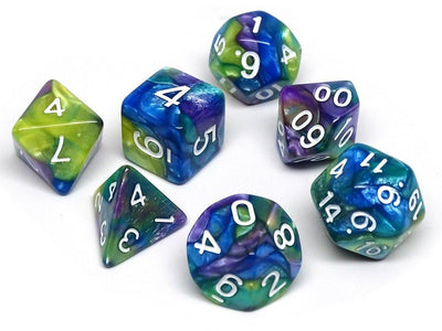 Green, Purple, and Blue Marble Dice Collection - 7 Piece Set