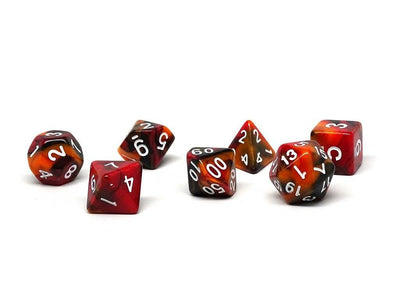 Black, Orange, and Red Marble Dice Collection - 7 Piece Set