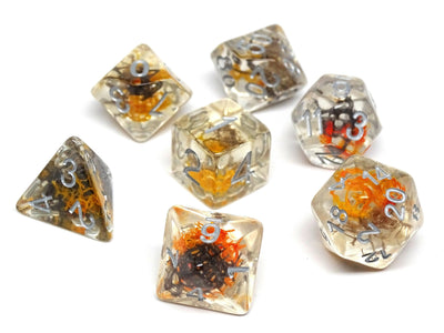 Translucent Neuron Brown and Amber Dice Collection - 7 Piece Set