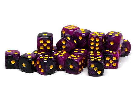 12mm D6 Dice - Purple and Black Swirl - 25 Count Bag