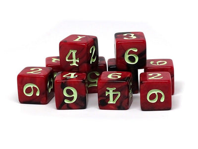 10 Pack Army D6 Dice Set #7 - 10 Count D6 Collection