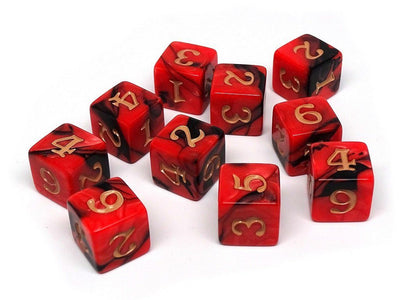 10 Pack Army D6 Dice Set #6 - 10 Count D6 Collection