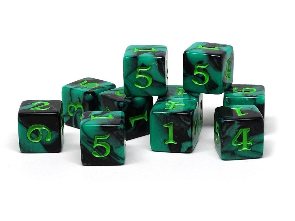 10 Pack Army D6 Dice Set #2 - 10 Count D6 Collection