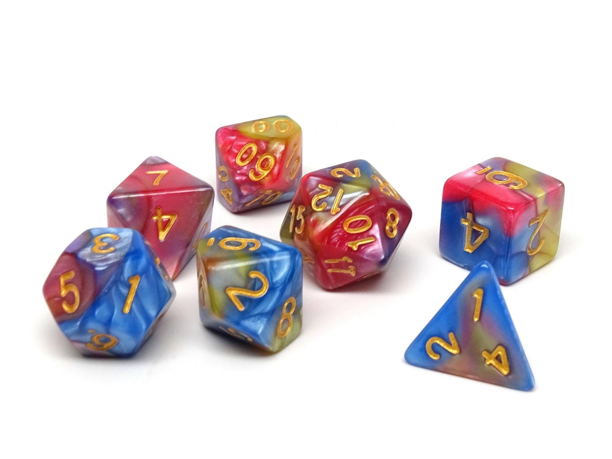 Blue, Pink, and Yellow Marble Dice Collection - 7 Piece Set