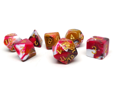 Pink, Brown, and White Marble Dice Collection - 7 Piece Set