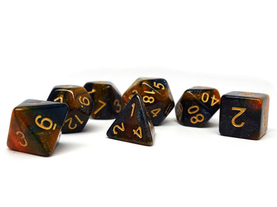 Orange and Blue Marble Dice Collection - 7 Piece Set