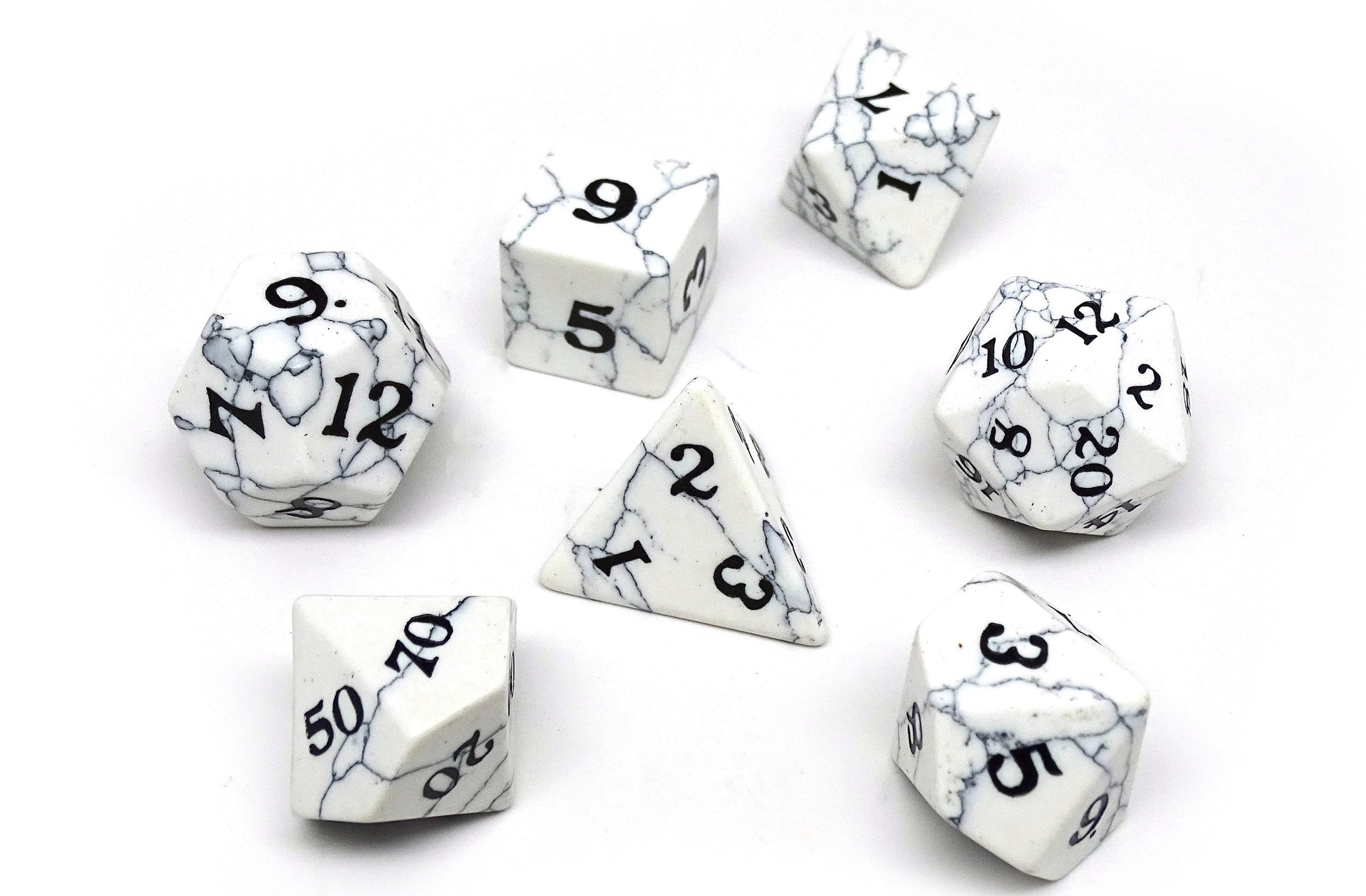Stone Dice Collection - White Howlite - Signature Font