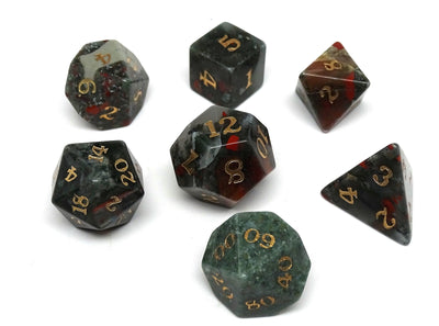 Stone Dice Collection - African Bloodstone - Signature Font