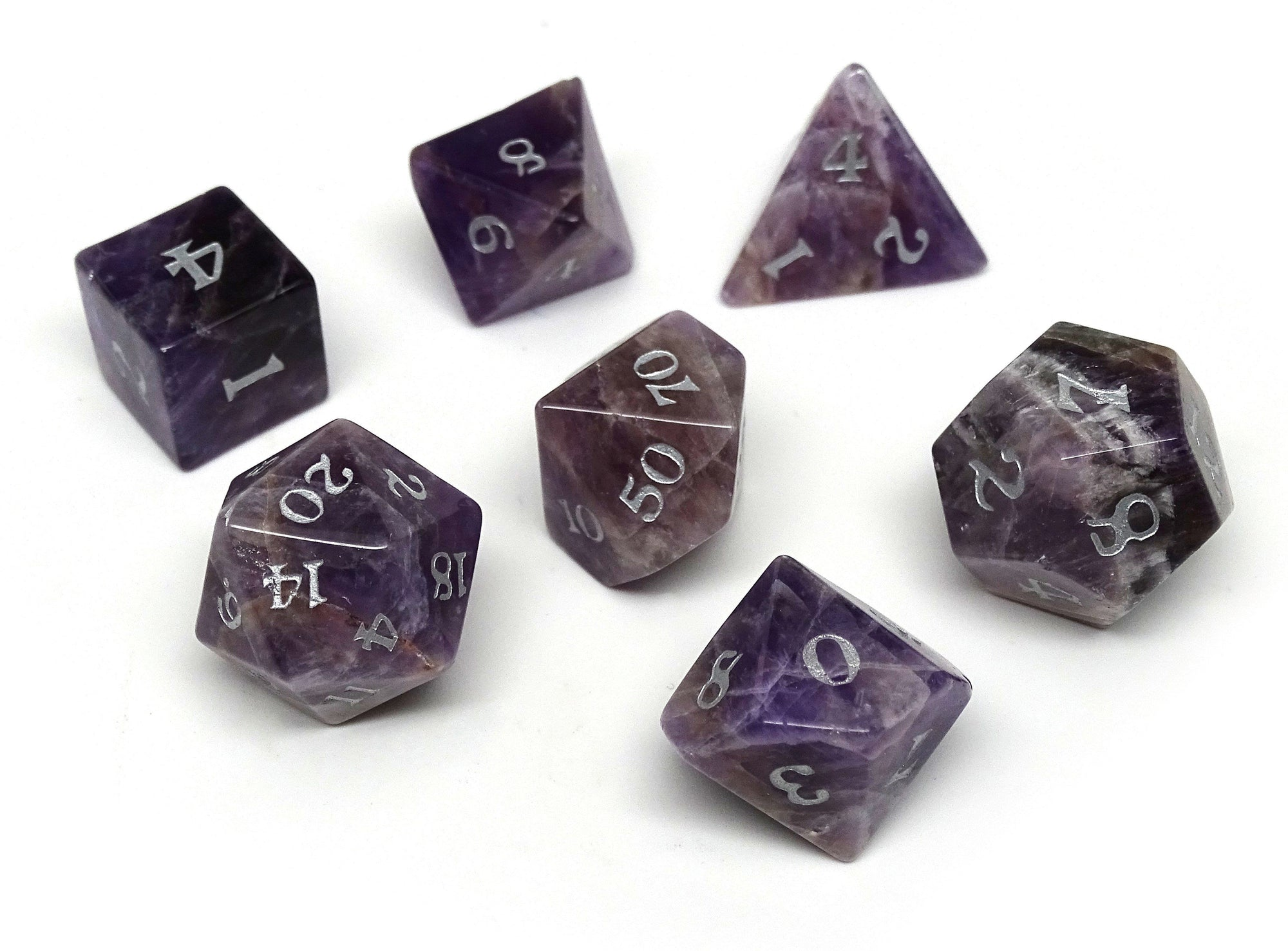 Stone Dice Collection - Amethyst - Signature Font