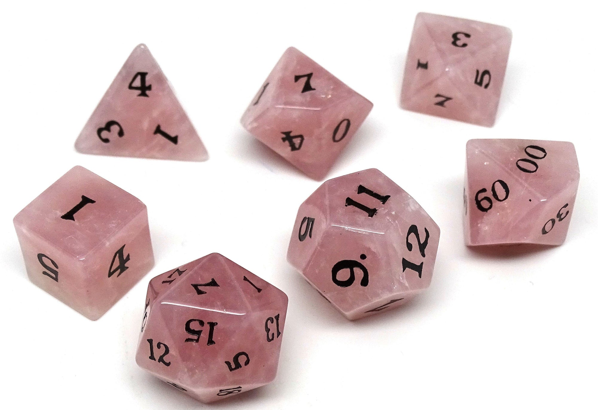 Stone Dice Collection - Rose Quartz - Signature Font