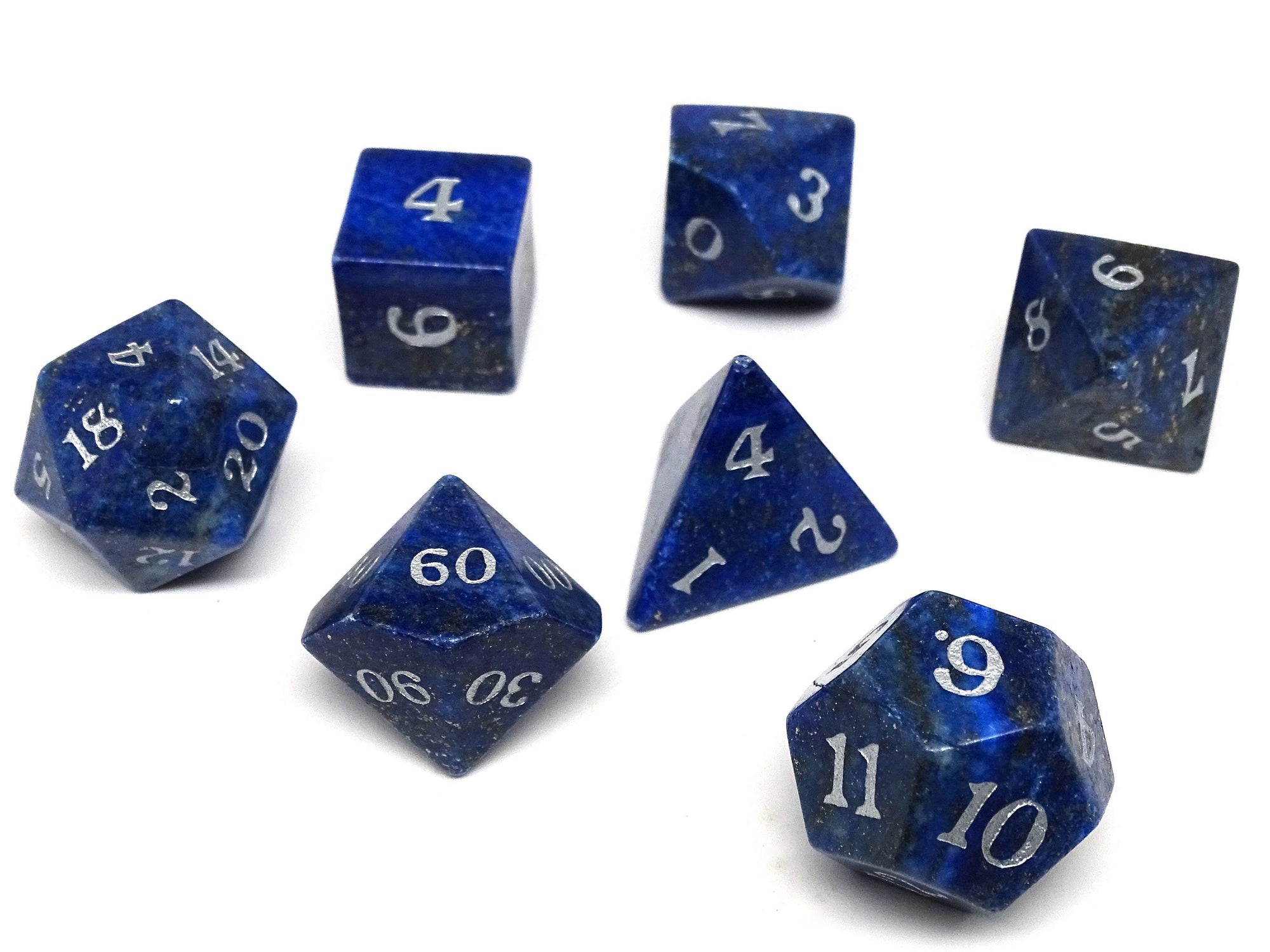 Stone Dice Collection - Lapis with Silver Numbering - Signature Font
