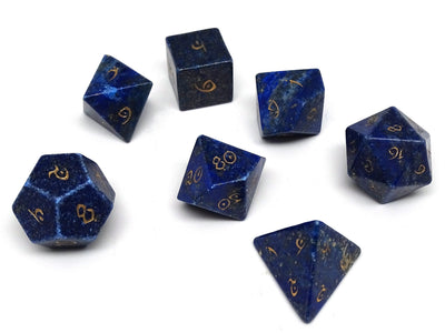 Stone Dice Collection - Lapis with Gold Numbering - Elvenkind Font