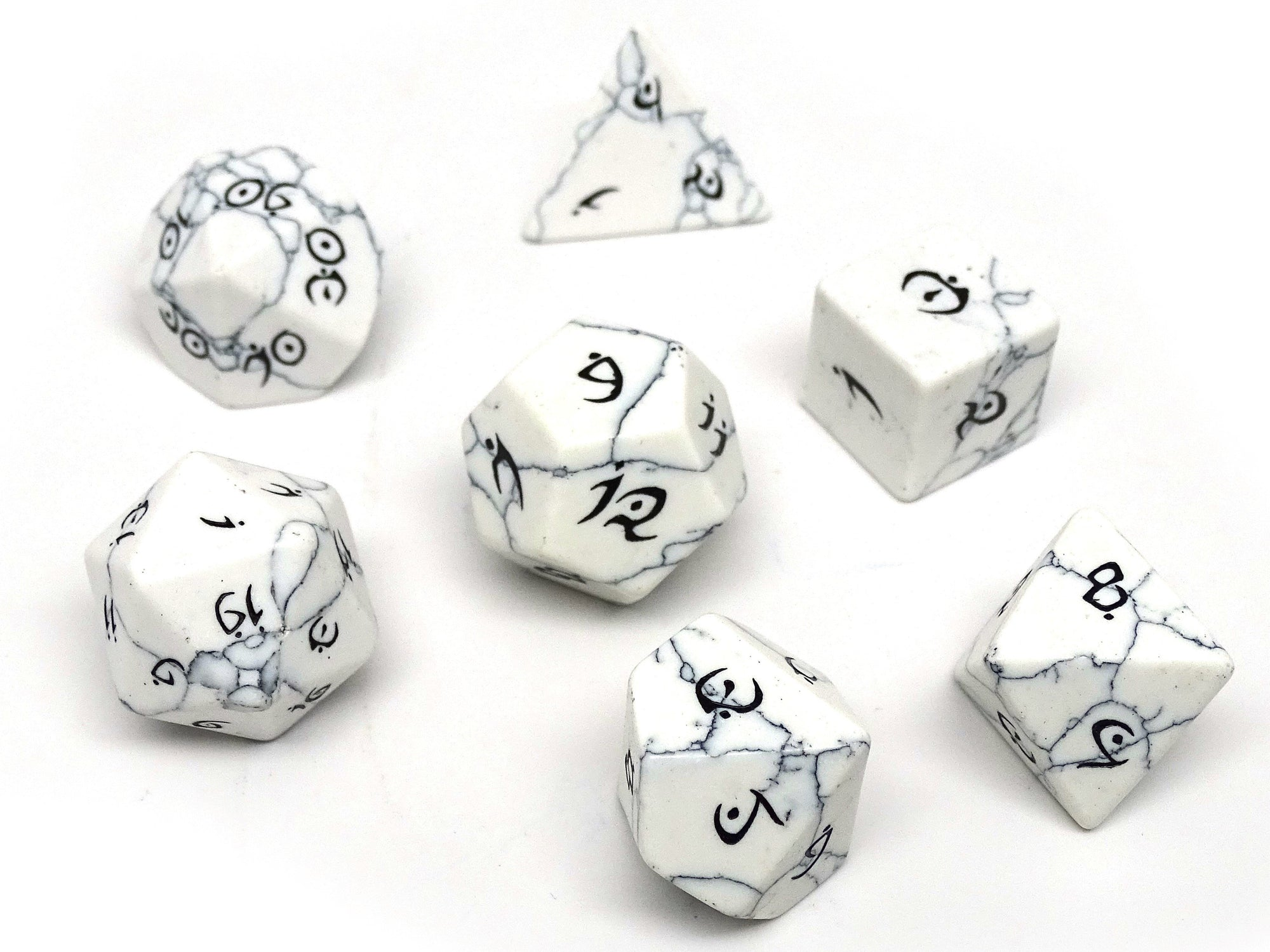 Stone Dice Collection - White Howlite - Elvenkind Font